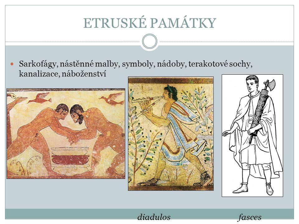 ETRUSKÉ PAMÁTKY Sarkofágy, nástěnné malby, symboly, nádoby, terakotové sochy, kanalizace, náboženství.