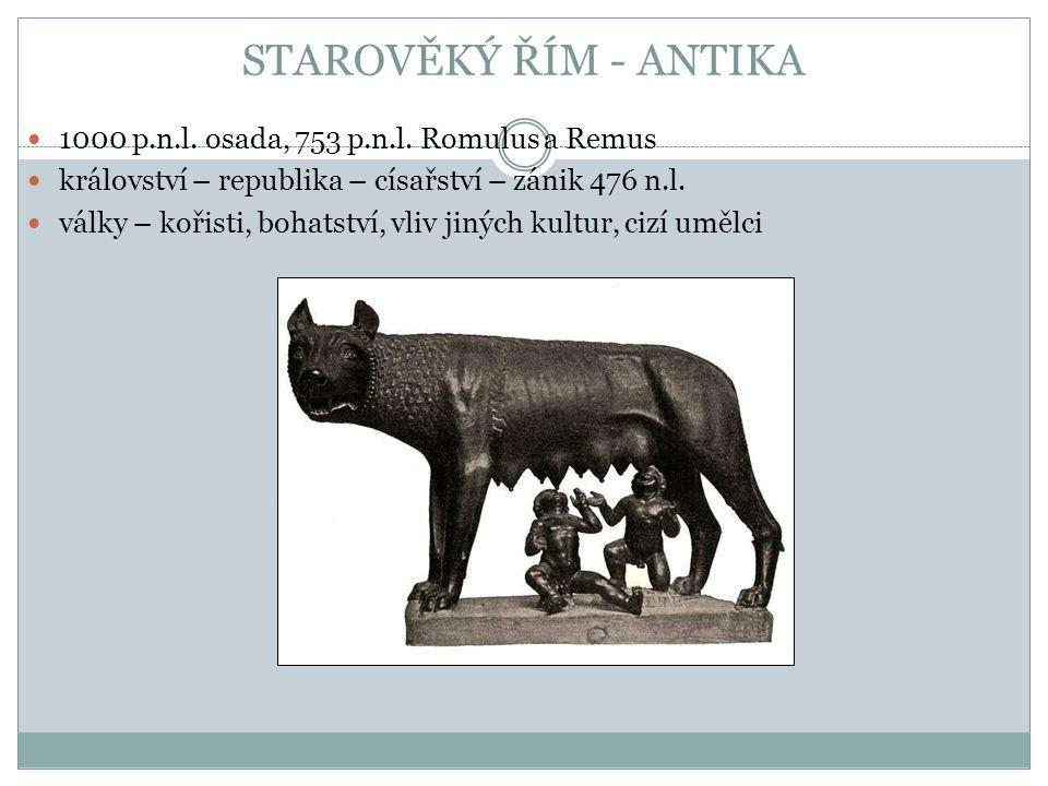 STAROVĚKÝ ŘÍM - ANTIKA 1000 p.n.l. osada, 753 p.n.l. Romulus a Remus