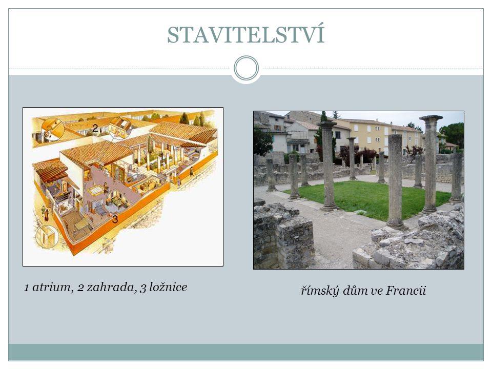 STAVITELSTVÍ 1 atrium, 2 zahrada, 3 ložnice římský dům ve Francii