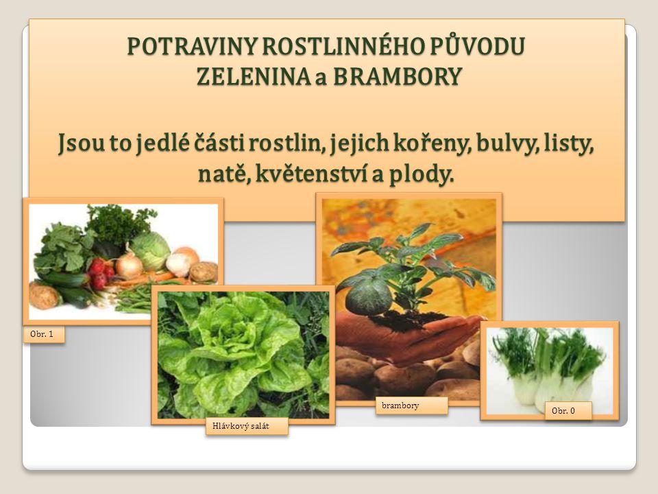POTRAVINY ROSTLINNÉHO PŮVODU ZELENINA a BRAMBORY Jsou to jedlé části rostlin, jejich kořeny, bulvy, listy, natě, květenství a plody.