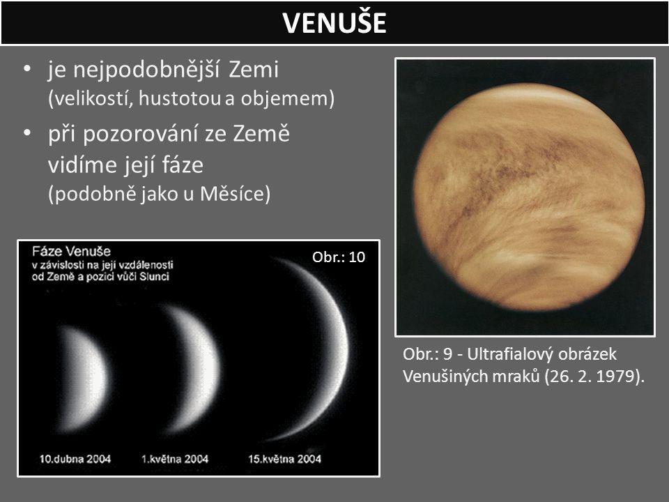 VENUŠE je nejpodobnější Zemi (velikostí, hustotou a objemem)