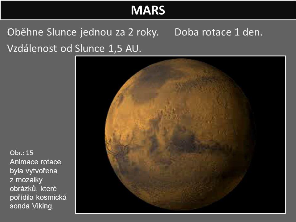 MARS Oběhne Slunce jednou za 2 roky. Doba rotace 1 den. Vzdálenost od Slunce 1,5 AU.