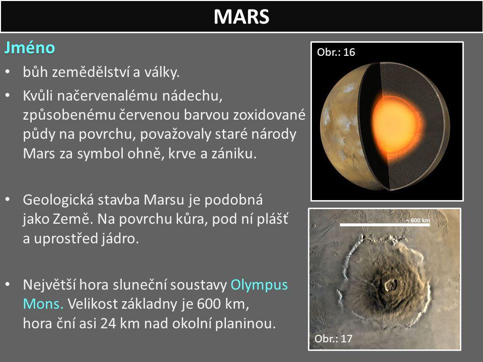 MARS Jméno bůh zemědělství a války.
