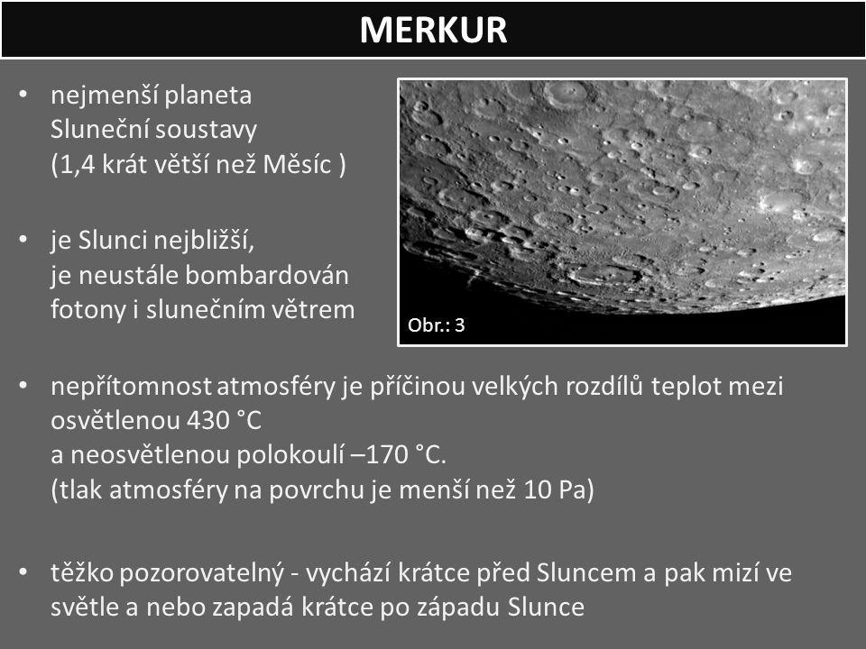 MERKUR nejmenší planeta Sluneční soustavy (1,4 krát větší než Měsíc )