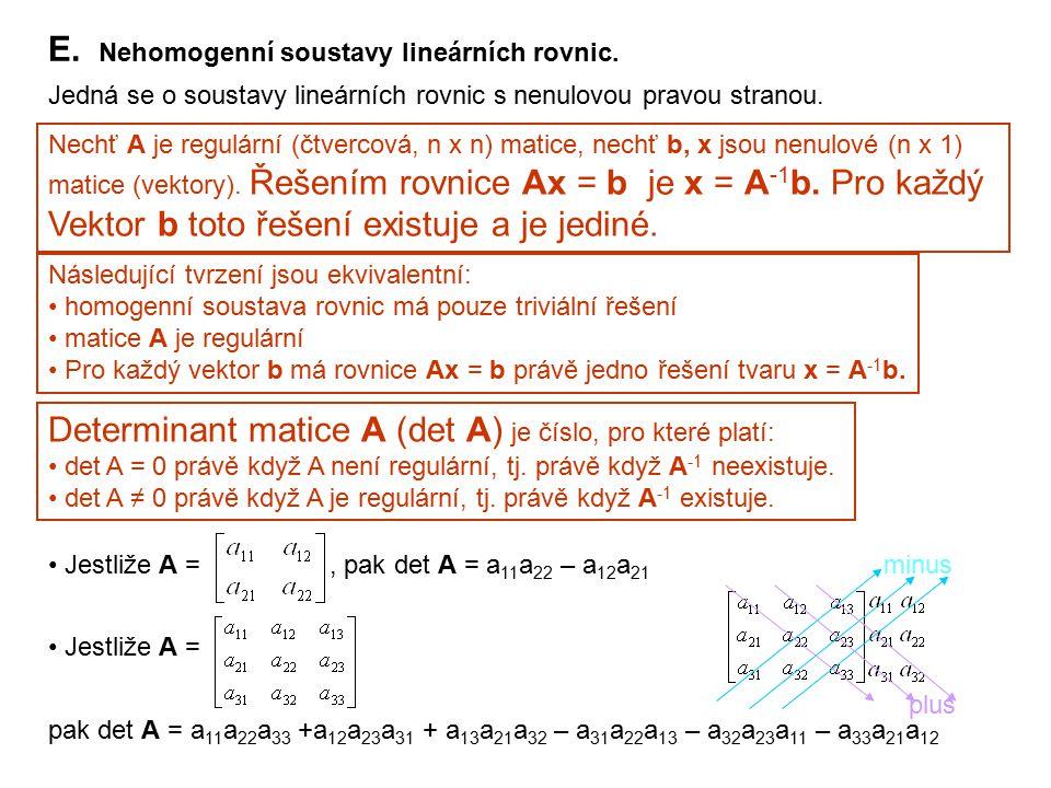 E. Nehomogenní soustavy lineárních rovnic.