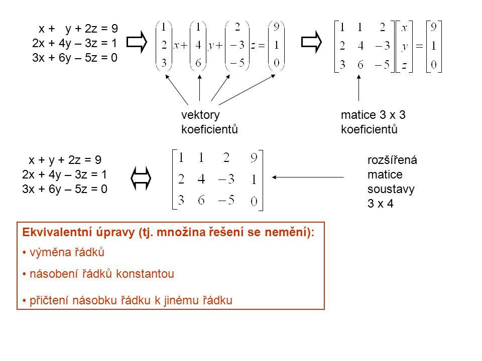 x + y + 2z = 9 2x + 4y – 3z = 1. 3x + 6y – 5z = 0. vektory. koeficientů. matice 3 x 3. koeficientů.