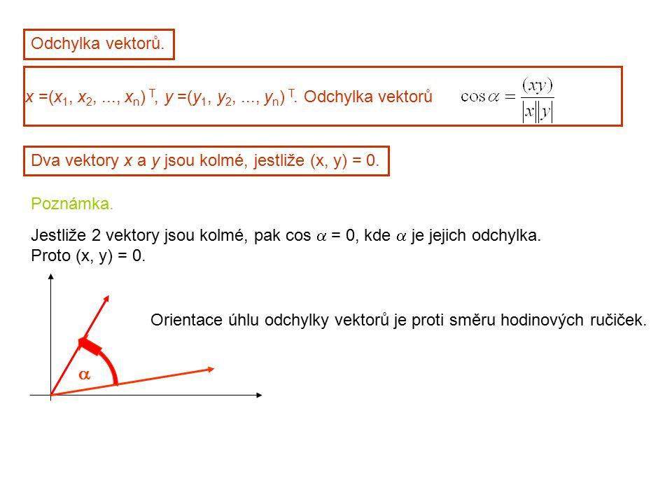 Odchylka vektorů. x =(x1, x2, ..., xn) T, y =(y1, y2, ..., yn) T. Odchylka vektorů. Dva vektory x a y jsou kolmé, jestliže (x, y) = 0.