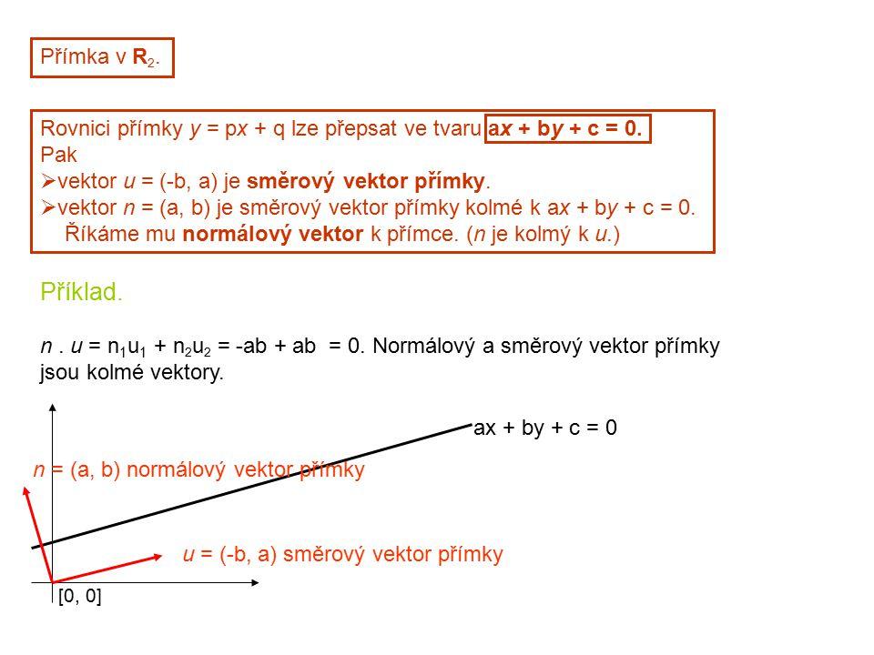 Přímka v R2. Rovnici přímky y = px + q lze přepsat ve tvaru ax + by + c = 0. Pak. vektor u = (-b, a) je směrový vektor přímky.