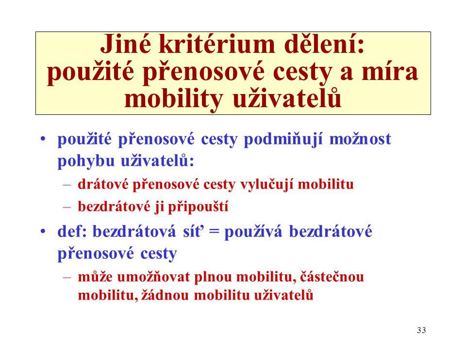Jiné kritérium dělení: použité přenosové cesty a míra mobility uživatelů