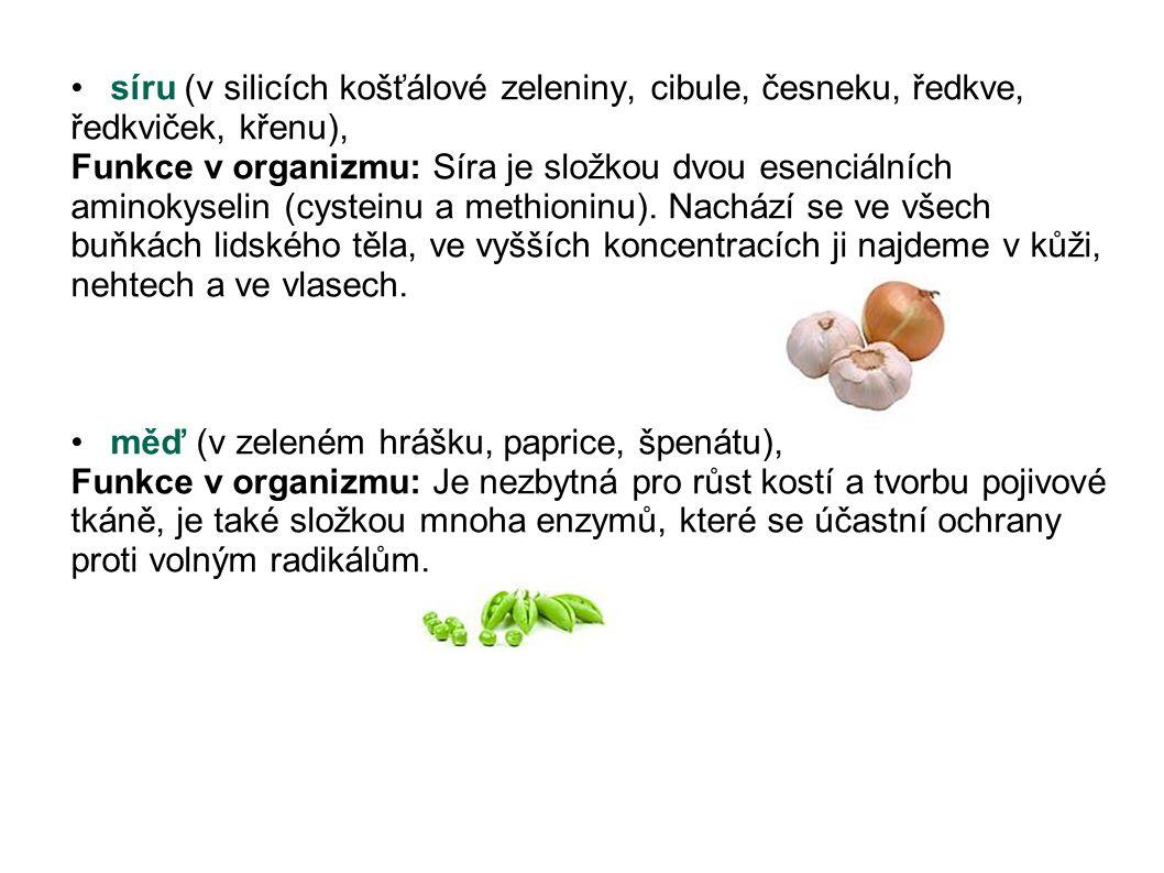 síru (v silicích košťálové zeleniny, cibule, česneku, ředkve, ředkviček, křenu),