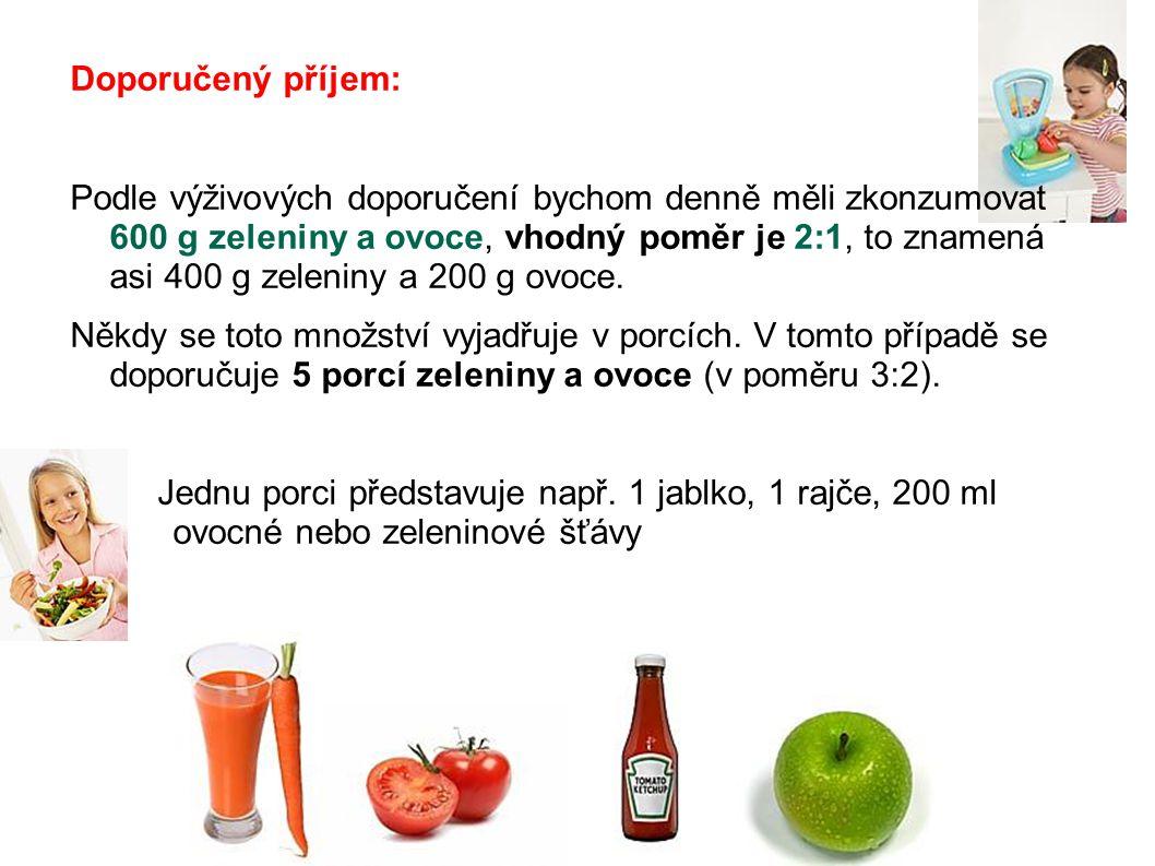 Doporučený příjem: Podle výživových doporučení bychom denně měli zkonzumovat 600 g zeleniny a ovoce, vhodný poměr je 2:1, to znamená asi 400 g zeleniny a 200 g ovoce.