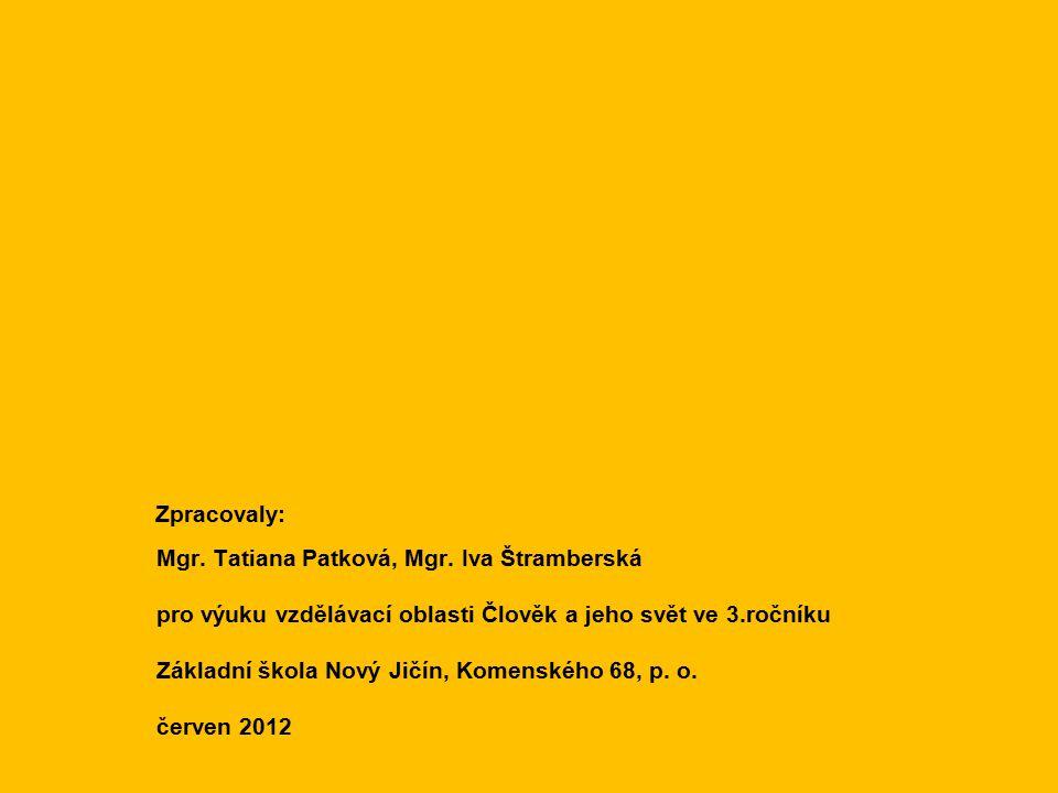 Zpracovaly: Mgr. Tatiana Patková, Mgr. Iva Štramberská. pro výuku vzdělávací oblasti Člověk a jeho svět ve 3.ročníku.