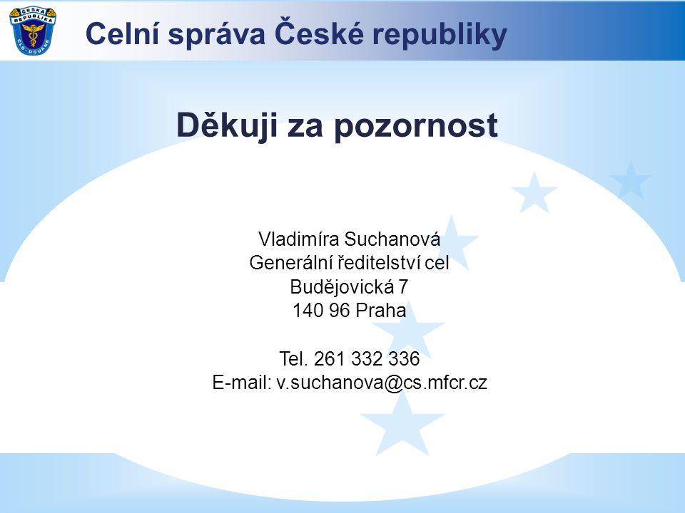 Děkuji za pozornost Celní správa České republiky Vladimíra Suchanová