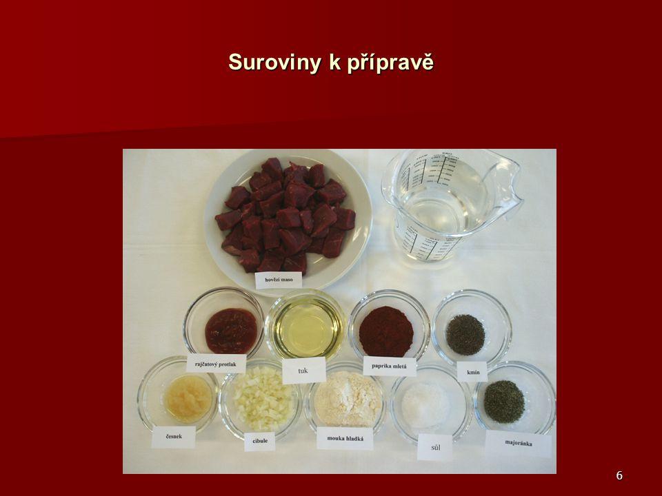 Suroviny k přípravě Hovězí maso, voda pitná, rajčatový protlak, tuk, paprika mletá, kmín, česnek,