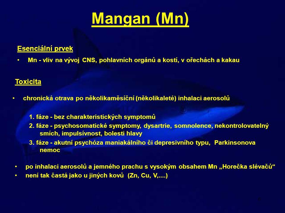 Mangan (Mn) Esenciální prvek Toxicita