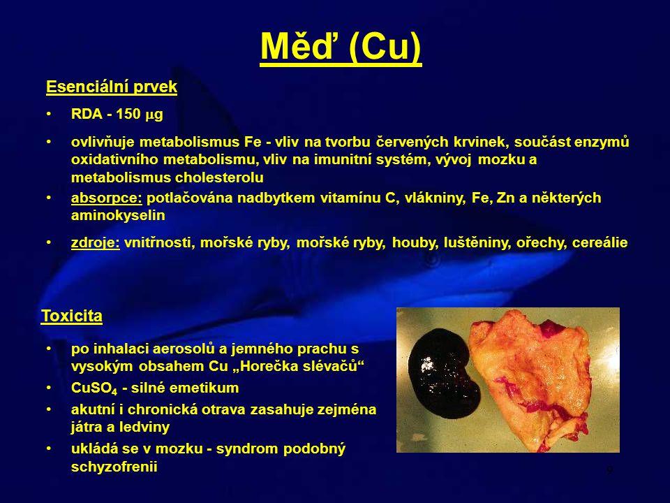 Měď (Cu) Esenciální prvek Toxicita RDA - 150 g
