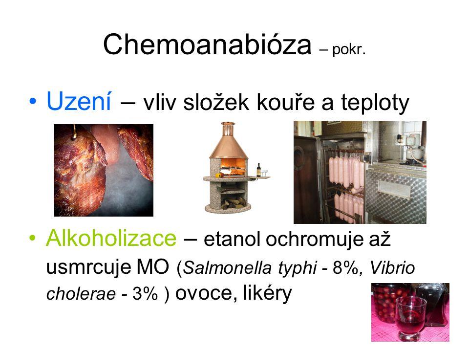 Chemoanabióza – pokr. Uzení – vliv složek kouře a teploty