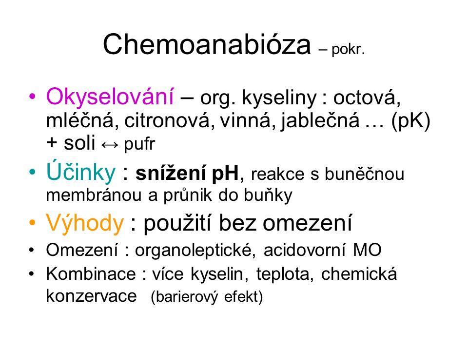 Chemoanabióza – pokr. Okyselování – org. kyseliny : octová, mléčná, citronová, vinná, jablečná … (pK) + soli ↔ pufr.