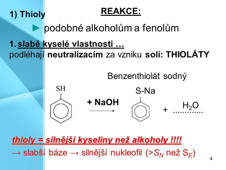 ► podobné alkoholům a fenolům