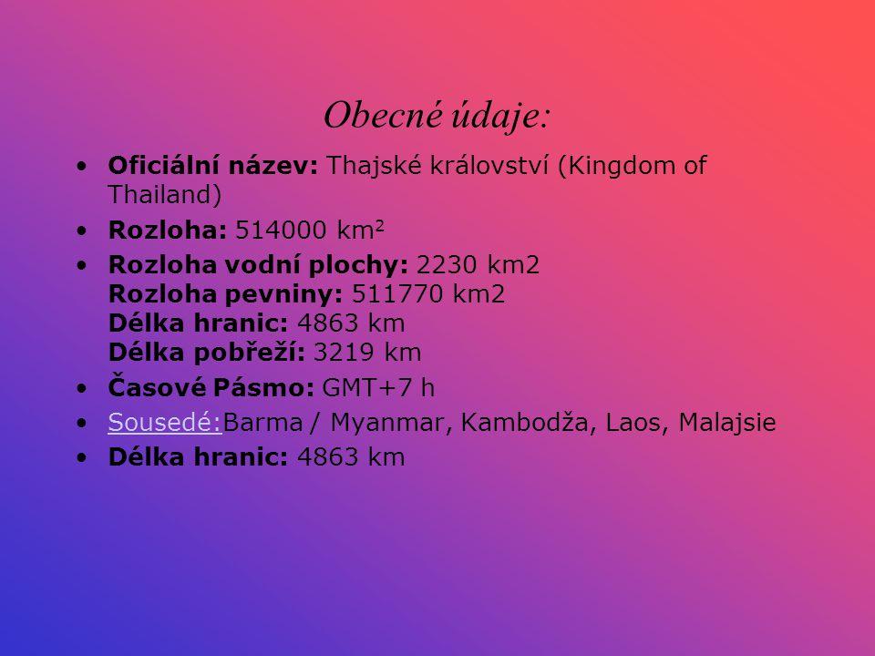 Obecné údaje: Oficiální název: Thajské království (Kingdom of Thailand) Rozloha: 514000 km2.