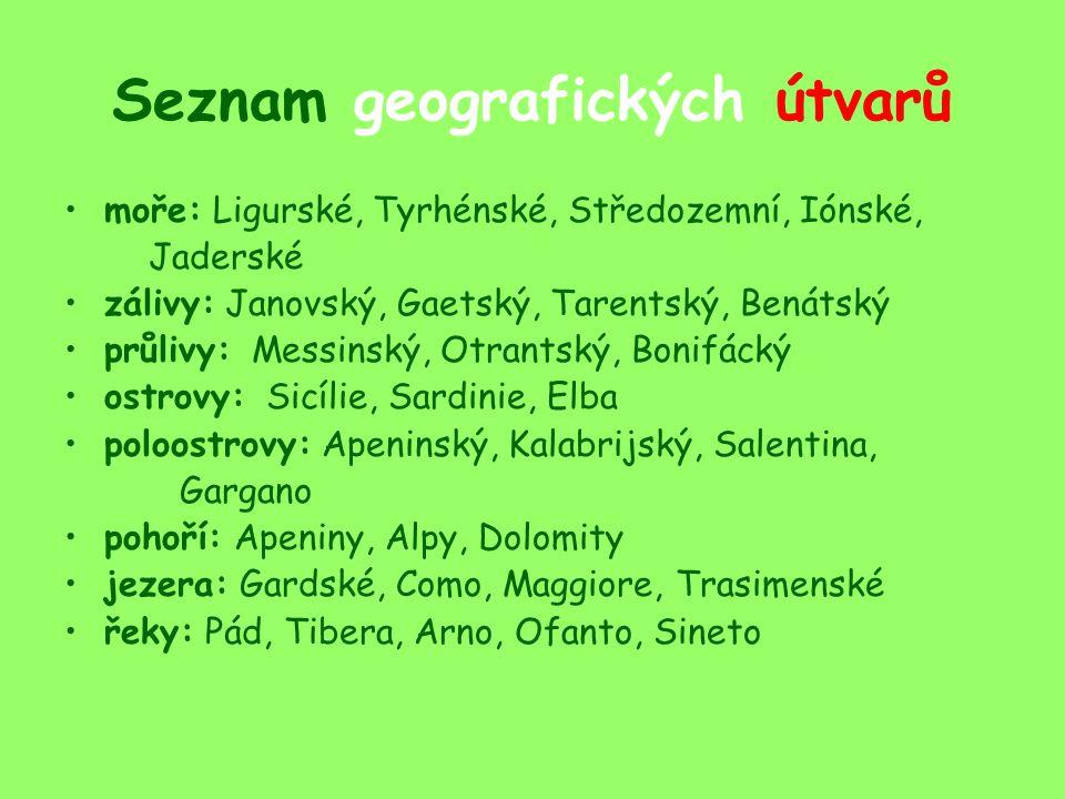 Seznam geografických útvarů