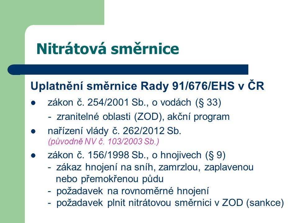 Nitrátová směrnice Uplatnění směrnice Rady 91/676/EHS v ČR