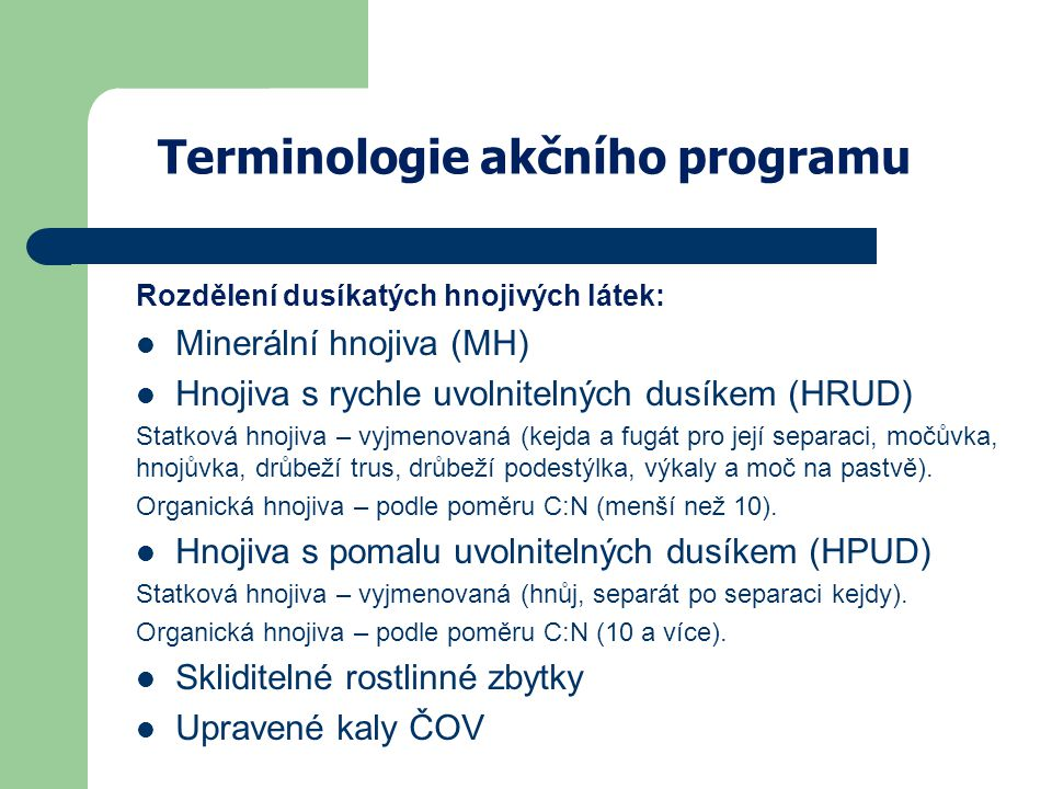Terminologie akčního programu