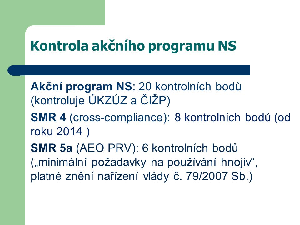 Kontrola akčního programu NS
