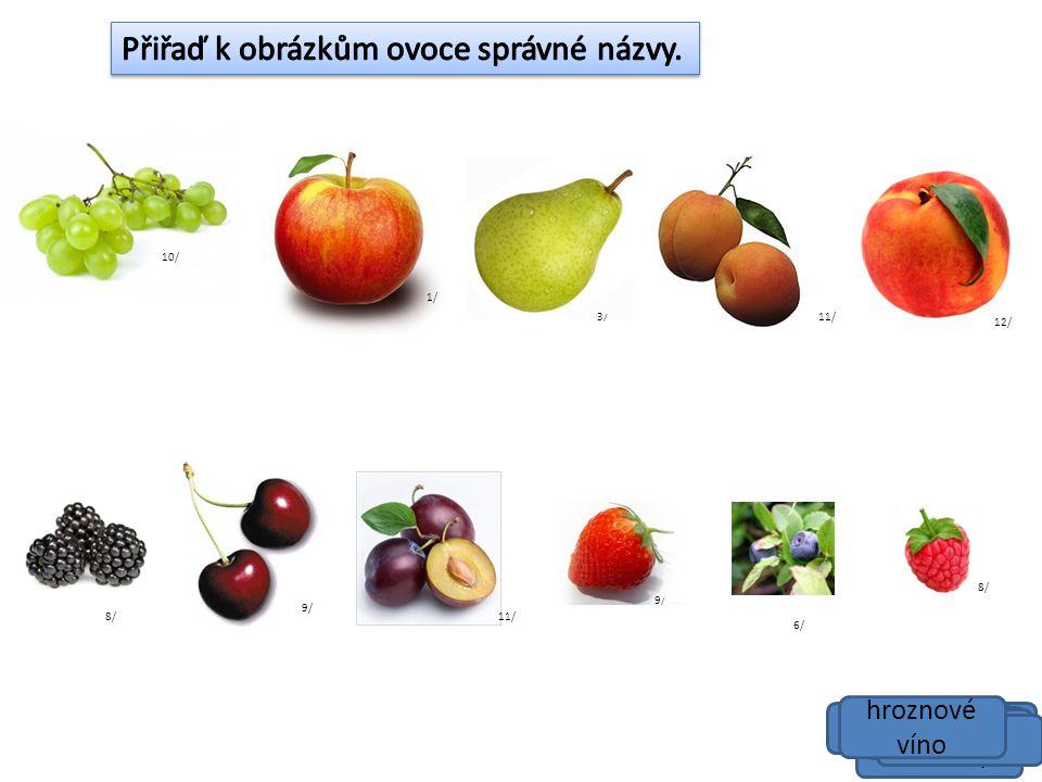 Přiřaď k obrázkům ovoce správné názvy.