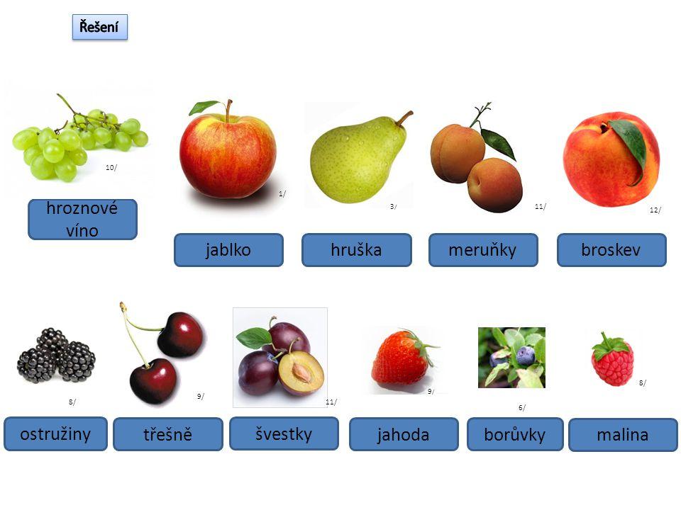 hroznové víno jablko hruška meruňky broskev ostružiny třešně švestky