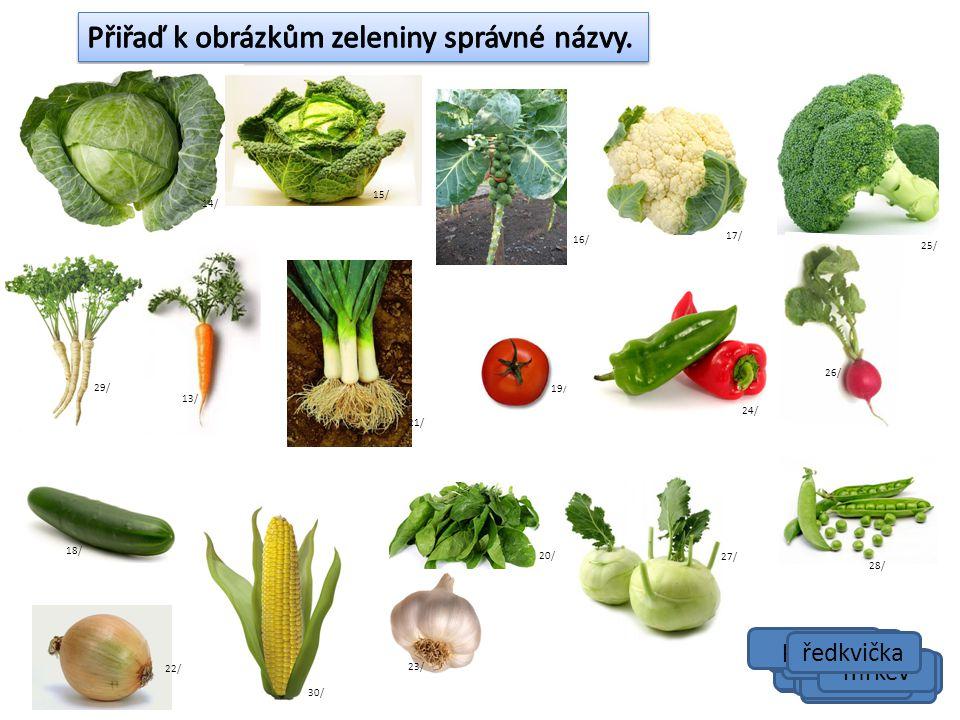 Přiřaď k obrázkům zeleniny správné názvy.