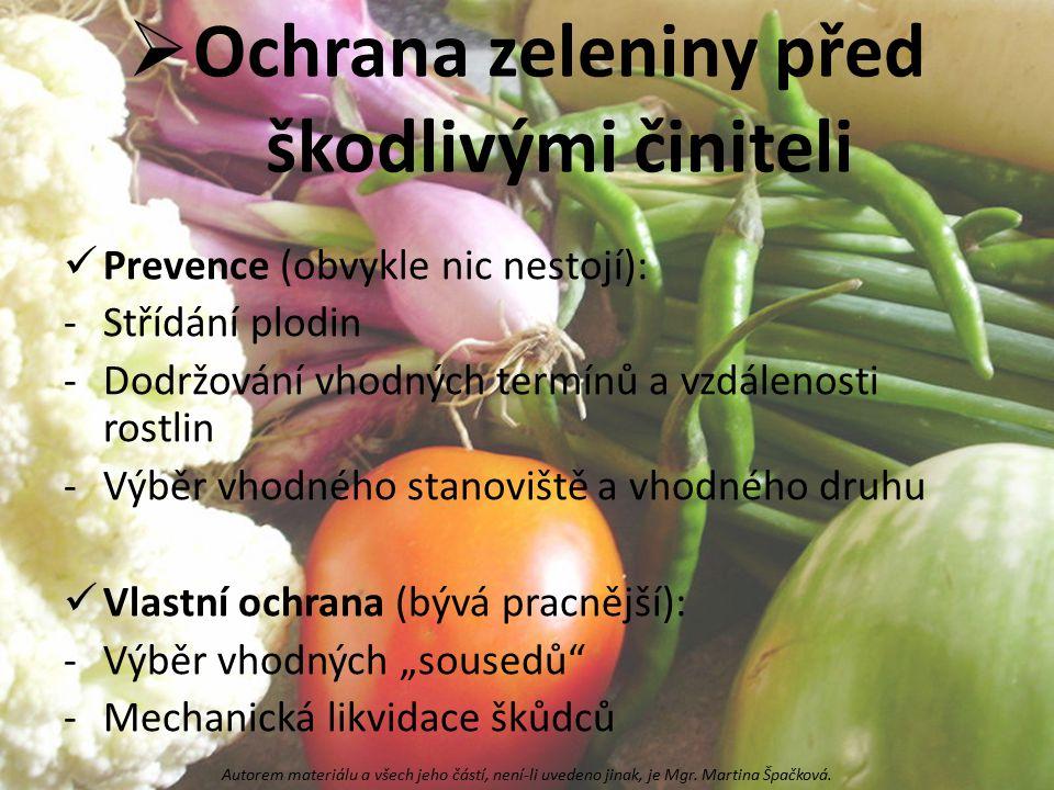 Ochrana zeleniny před škodlivými činiteli