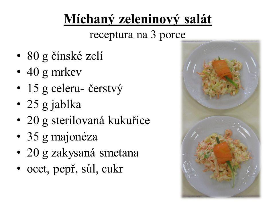 Míchaný zeleninový salát receptura na 3 porce
