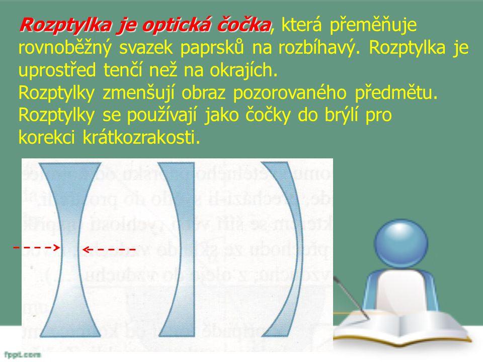 Rozptylka je optická čočka, která přeměňuje rovnoběžný svazek paprsků na rozbíhavý. Rozptylka je uprostřed tenčí než na okrajích.