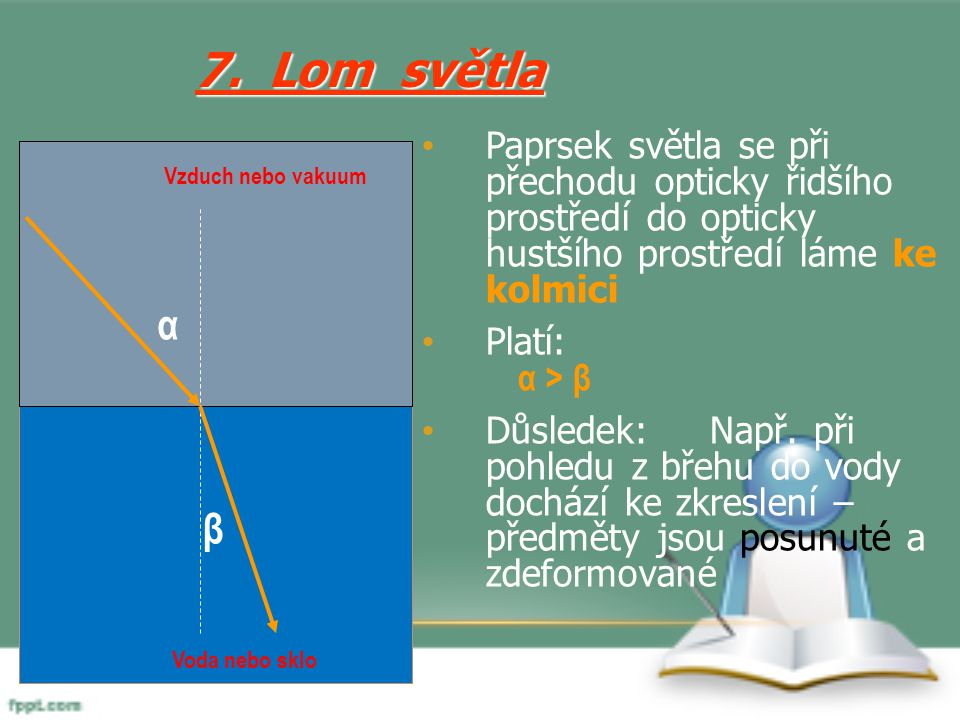 7. Lom světla Paprsek světla se při přechodu opticky řidšího prostředí do opticky hustšího prostředí láme ke kolmici.