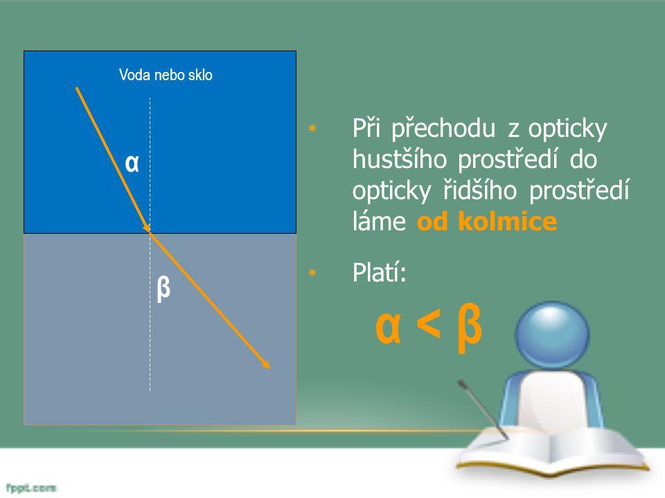 Voda nebo sklo Při přechodu z opticky hustšího prostředí do opticky řidšího prostředí láme od kolmice.
