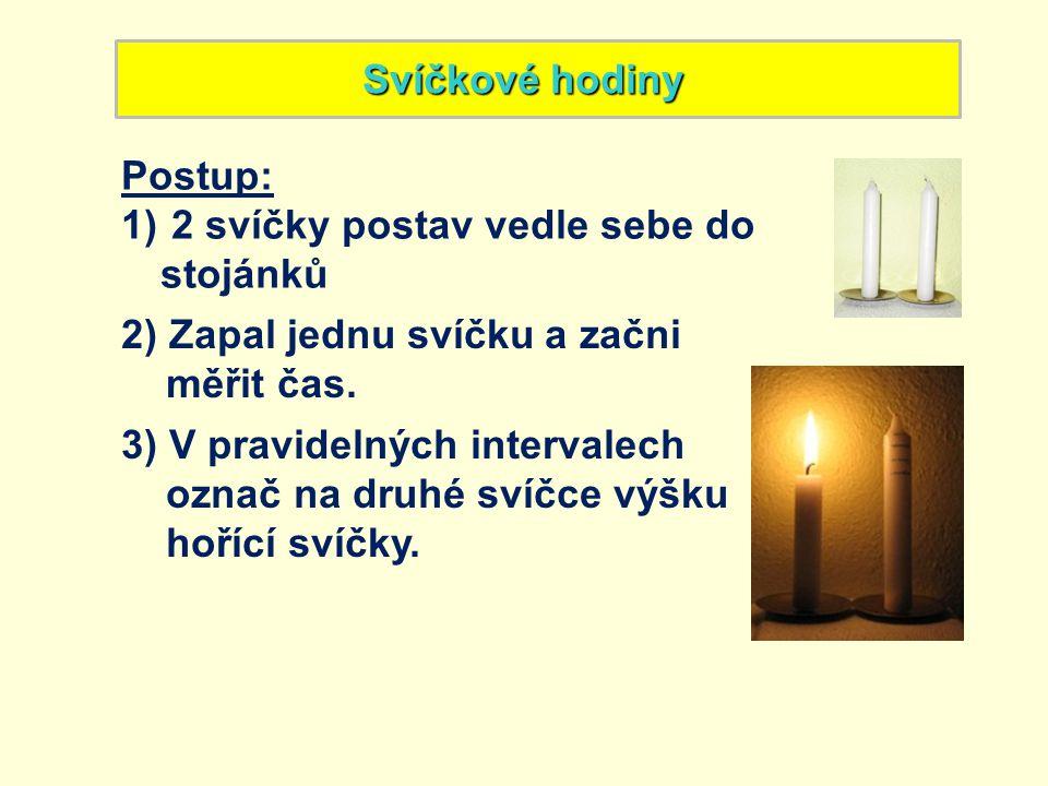 Svíčkové hodiny Postup: 2 svíčky postav vedle sebe do stojánků. 2) Zapal jednu svíčku a začni. měřit čas.