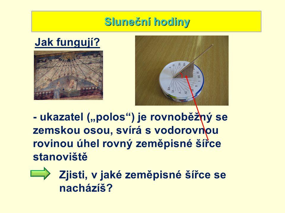"""Sluneční hodiny Jak fungují - ukazatel (""""polos ) je rovnoběžný se zemskou osou, svírá s vodorovnou rovinou úhel rovný zeměpisné šířce stanoviště."""