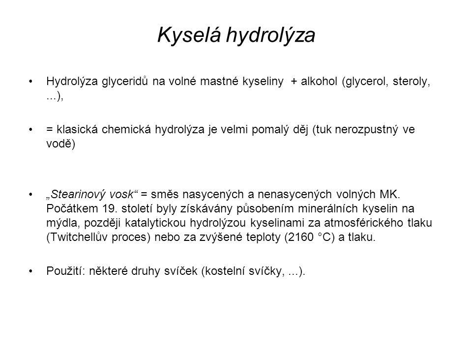 Kyselá hydrolýza Hydrolýza glyceridů na volné mastné kyseliny + alkohol (glycerol, steroly, ...),