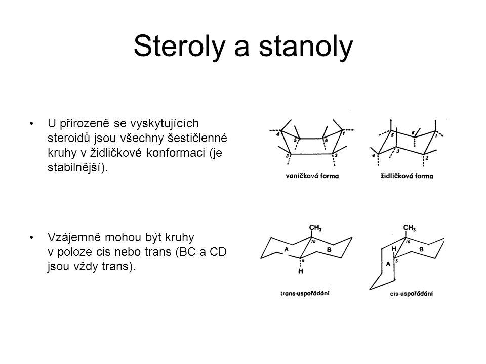 Steroly a stanoly U přirozeně se vyskytujících steroidů jsou všechny šestičlenné kruhy v židličkové konformaci (je stabilnější).