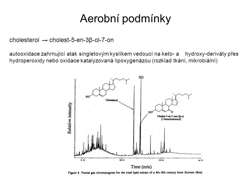 Aerobní podmínky cholesterol → cholest-5-en-3β-ol-7-on