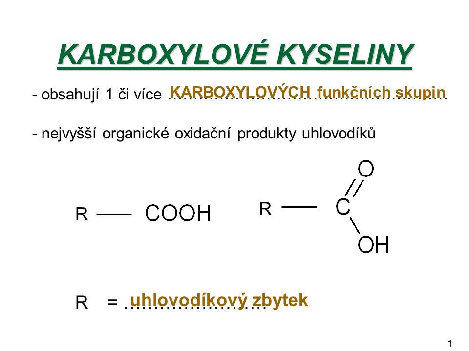 KARBOXYLOVÉ KYSELINY R R = …………………… uhlovodíkový zbytek