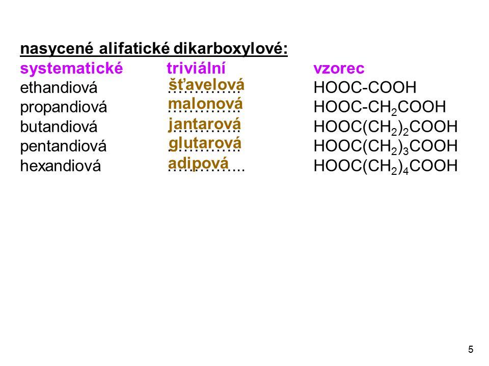nasycené alifatické dikarboxylové: systematické triviální vzorec
