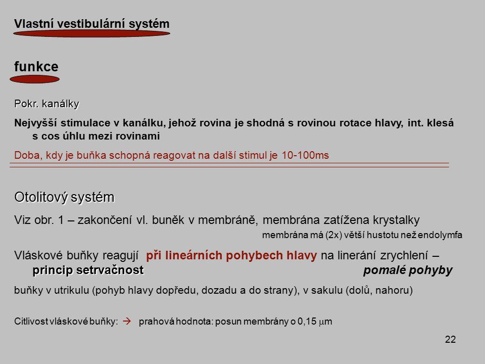 funkce Otolitový systém Vlastní vestibulární systém