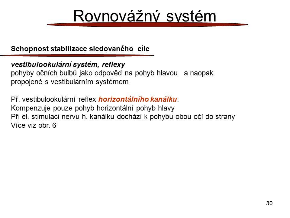 Rovnovážný systém Schopnost stabilizace sledovaného cíle