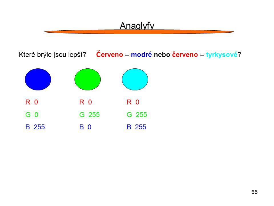 Anaglyfy Které brýle jsou lepší Červeno – modré nebo červeno – tyrkysové R 0. G 0. B 255.