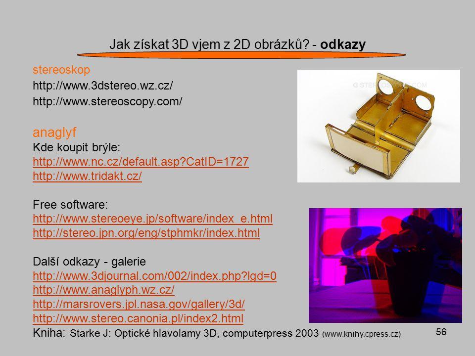Jak získat 3D vjem z 2D obrázků - odkazy