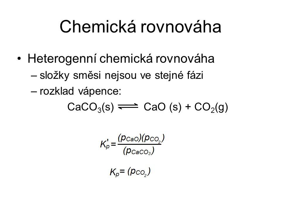 Chemická rovnováha Heterogenní chemická rovnováha