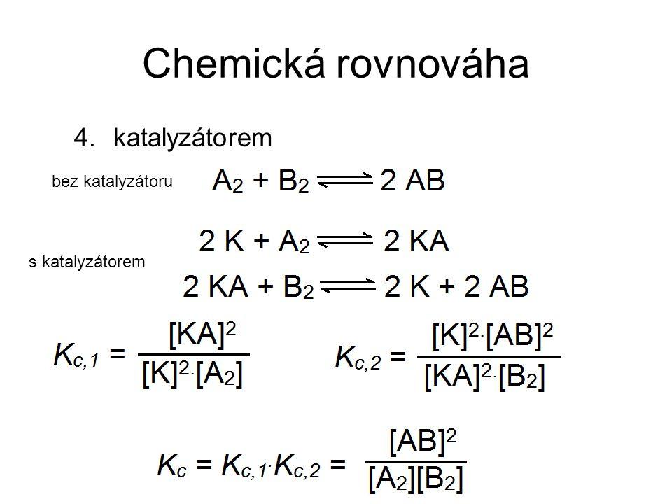 Chemická rovnováha katalyzátorem bez katalyzátoru s katalyzátorem