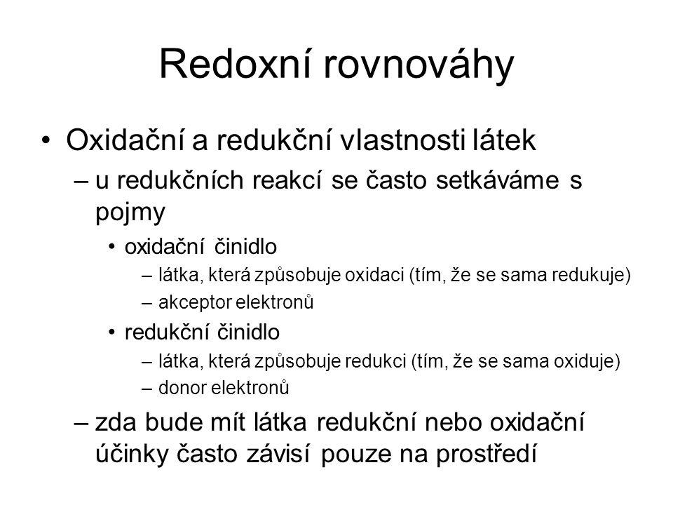 Redoxní rovnováhy Oxidační a redukční vlastnosti látek